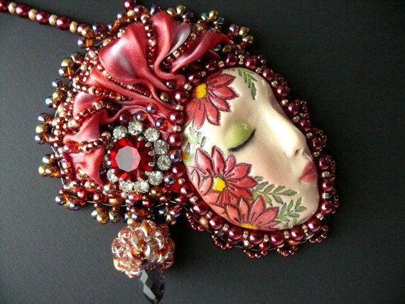Bead embroidered Pendant LADY necklace Shibori silk ribbon Beadwork Ebw Team Ebeg Ooak seed beaded jewelry