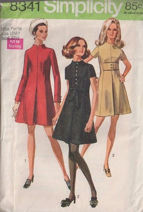 Simplicity 8341 Vintage 60's Sewing Pattern DIVINE Mod Twiggy Away From Neck Front Pleated Cocktail Party Dress, Center Tie or Wide Belt #MOMSPatterns
