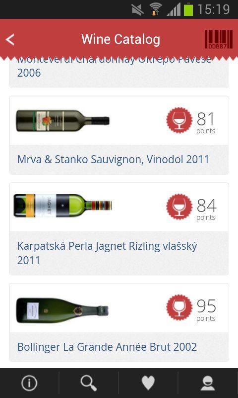 Wine catalog, new design, bottom bar