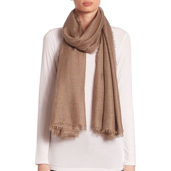 Saks Fifth Avenue Collection Women's Fringed Cashmere & Silk Scarf (3.005 ARS) ❤ liked on Polyvore featuring accessories, scarves, tan, short scarves, cashmere shawl, cashmere scarves, fringe scarves and silk shawl