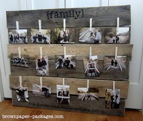 DIY wood pallet photo display via www.brownpaper--packages.com