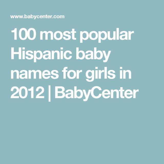 100 most popular Hispanic baby names for girls in 2012   BabyCenter