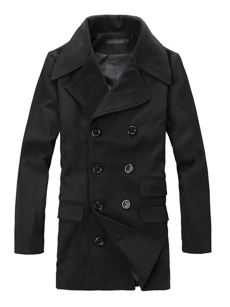 Black Wool Blend Double Breasted Lapel Men Wind Coat M/L/XL/XXL @910W56b