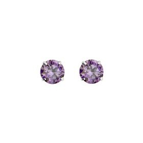 .925 Sterling Silver Rhodium Plated 3mm February Birthstone Round CZ Solitaire Basket Stud Earrings for Baby and Children & Women with Screw-back (Amethyst, Purple)
