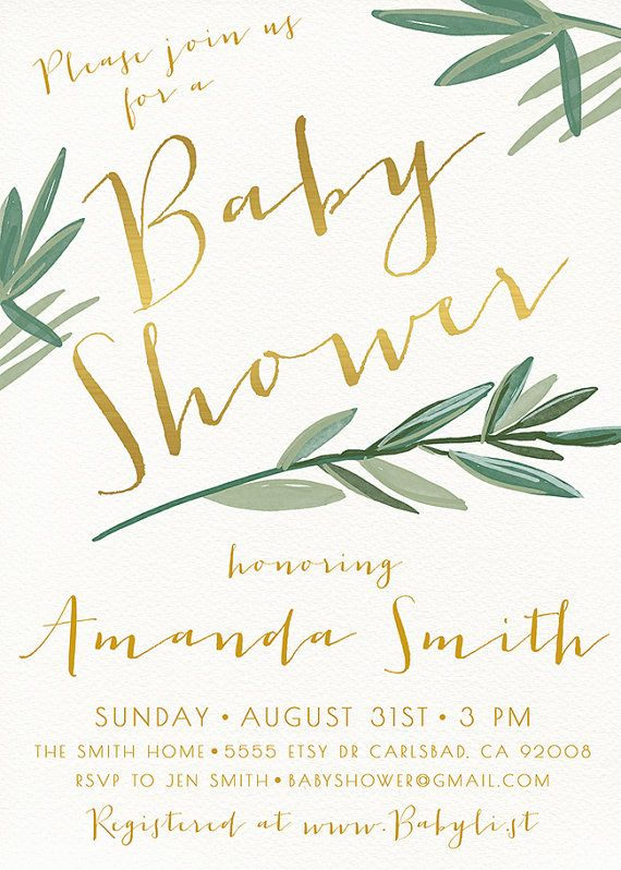 Baby Shower Invitation Palm Leaf Boho by KirraReynaDesigns on Etsy