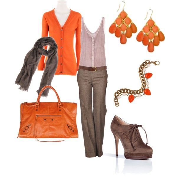 work clothes: Shoes, Work Clothes, Orange, Colors Combos, Work Clothing, Fashion, Style, Cute Outfits, Fall Work Outfits