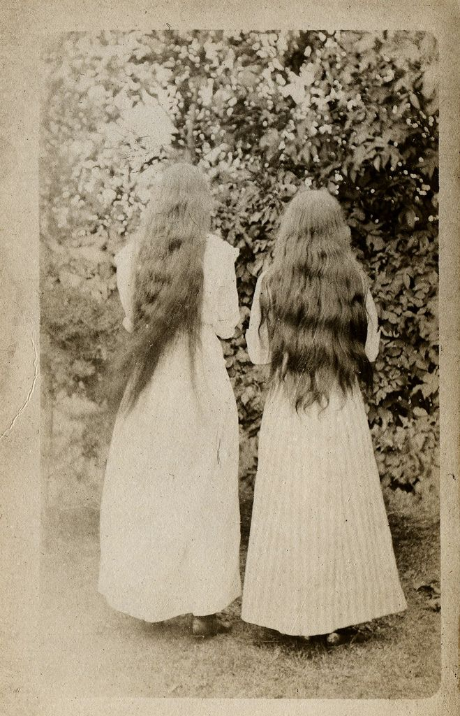 https://flic.kr/p/83TqJX | spooky long hair girls | usa 1910 postcard size snapshot. See my flickr vintage snapshots set, for many more unusual, weird and wonderful snapshots.