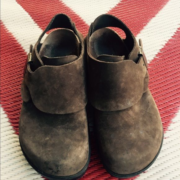 Betula By Birkenstock Clogs Durable and very comfortable clogs from Betula by Birkenstock. It has a distressed look in suede dark brown color. In excellent used condition. Size US 8. Birkenstock Shoes Mules & Clogs