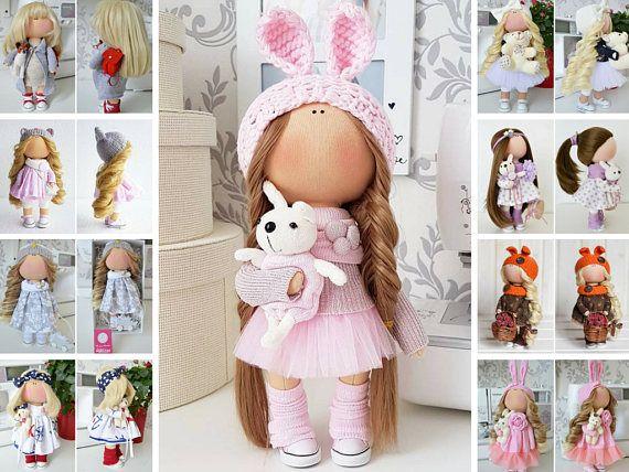 Bunny doll Tilda doll Cloth doll Handmade doll Panenka Muñecas Pink doll Soft doll Bonita Nursery doll Poupée Fabric doll Bambole by Tanya E