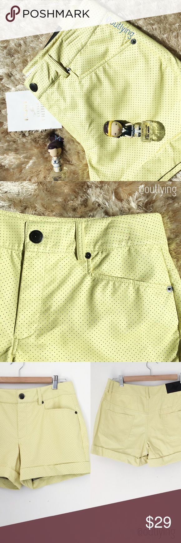 "🔥BOGO! BCBGENERATION Perforated Leather Shorts 🔥BUY 1 GET 1 FREE! BCBGENERATION Pale Yellow Vegan Perforated Leather Shorts, NWT, Size 26,(runs big so listed as a medium) rise 10"" waist 31"" hip 41"" inseam 4.5"" fully lined, functional pockets and button zipper fly closure, soft inside of the fabric is like a cotton twill feel. BCBGeneration Shorts"