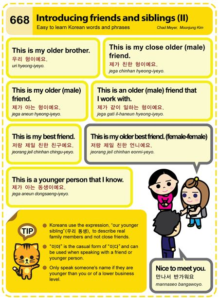 """[668] introducing friends and siblings II 11/14/2013 - I asked my Korean speaking friend why some introductions are Je-ga and some are je-rang on this.  She said you could use either.  Also in my Western ways, if I MUST introduce a parent by name (so rude I know) to intodruce my Mother would be  """"sangham eomoni-ae NAME imnida"""
