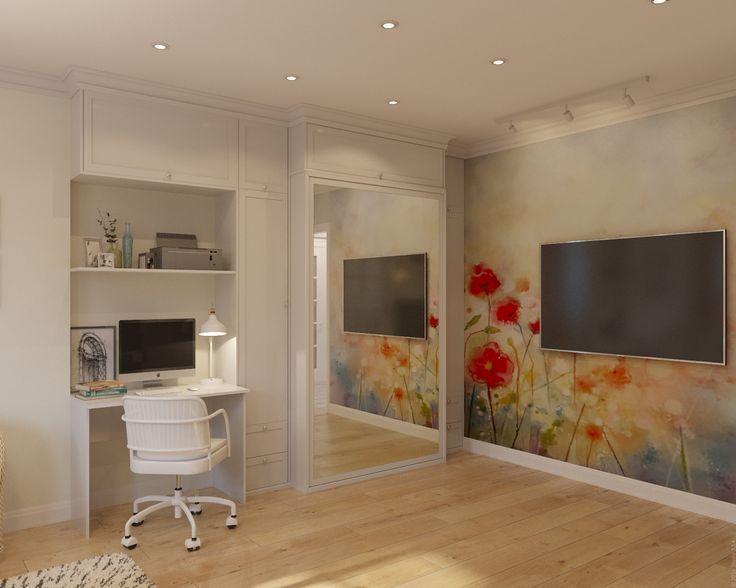 Небольшое рабочее место соседствует с кроватью с подъемным механизмом, что позволяет освобождать середину комнаты в дневное время.