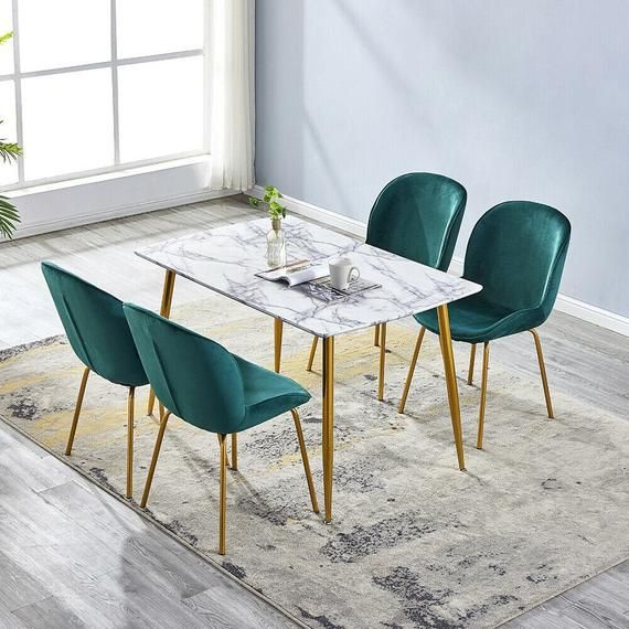 2 4 6 Emerald Green Velvet Fabric Chairs Set With Modern Marble