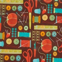 MODA Cotton Craft Fabric - Novelty Sewing Notions Ephemera Chocolate Brown - Sewing Box by Gina Martin