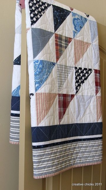 Sheets and Shirts on the Door, made from recycled shirts and sheets.