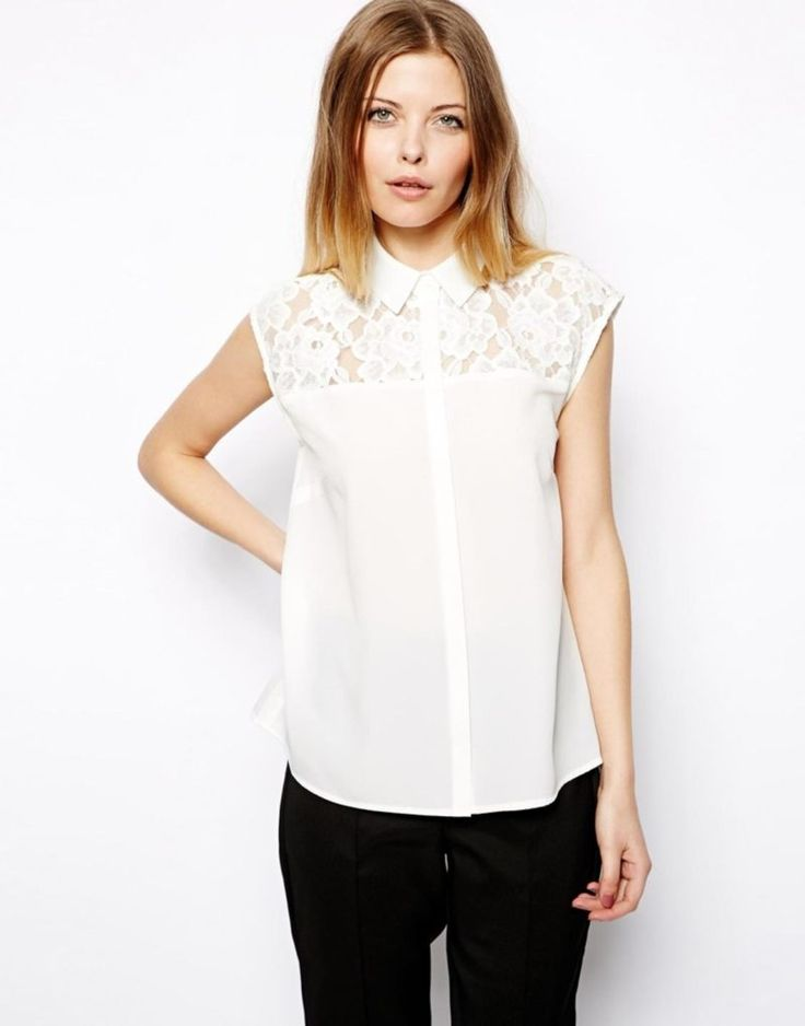 White Sleeveless Blouse With Lace Panels Screen