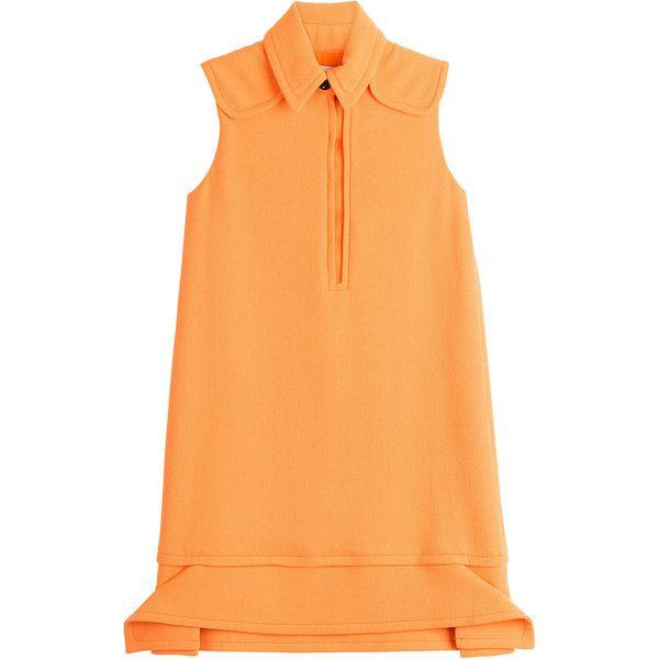 Victoria, Victoria Beckham Wool Sleeveless Button-Down Tunic Dress (5.309.520 IDR) ❤ liked on Polyvore featuring dresses, orange, sleeveless dress, orange shirt dress, sleeveless a line dress, beige shirt dress and a line shirt dress