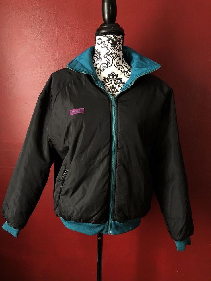 VTG Columbia Reversible Teal Blue Black Jacket Women's Puffer Coat Large  | eBay