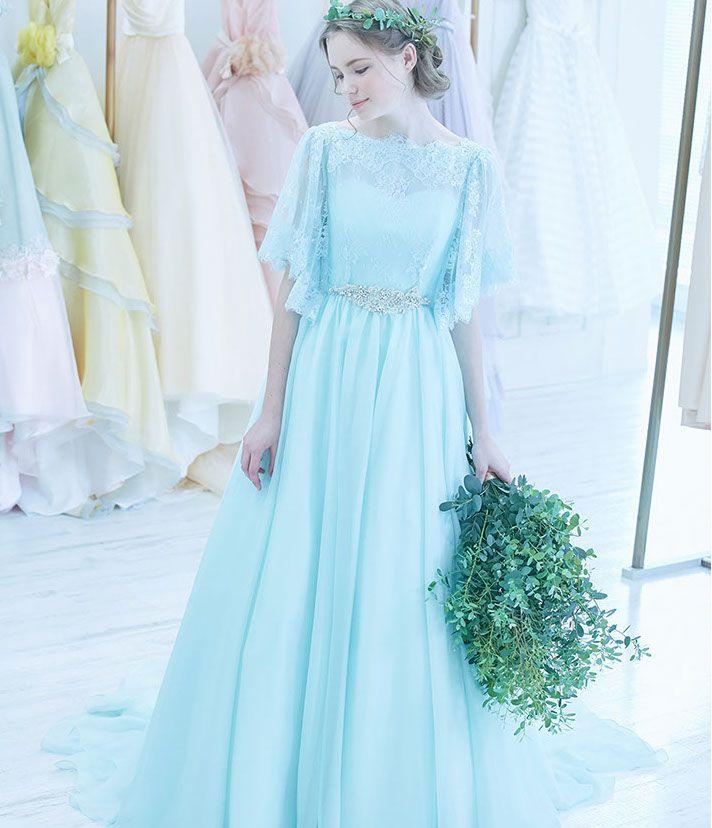 No. DBC-057 -清涼感あるペールグリーンのワントーンカラードレス。ウェストにはデコラティブなビジューをオン。