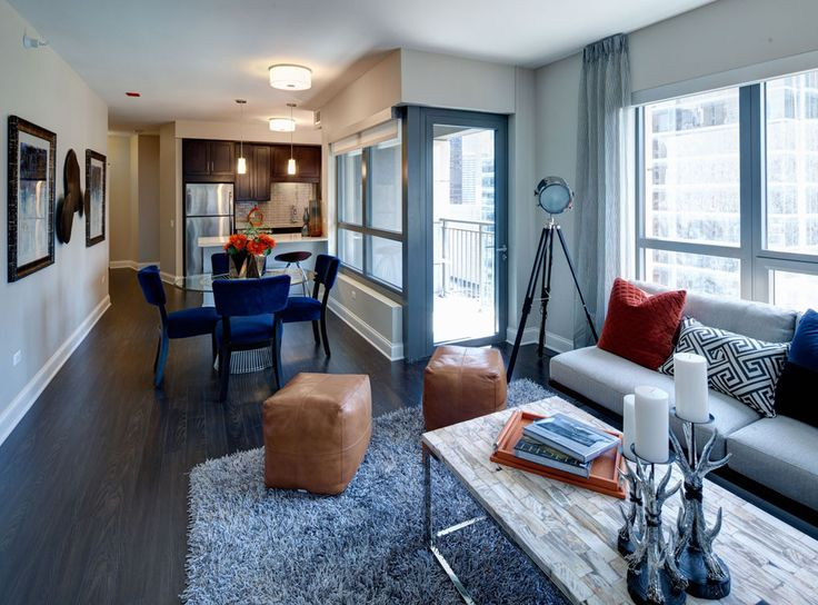 Model Kitchen, Dining, And Living Room At AMLI River North, A Luxury  Apartment Community In Chicago.