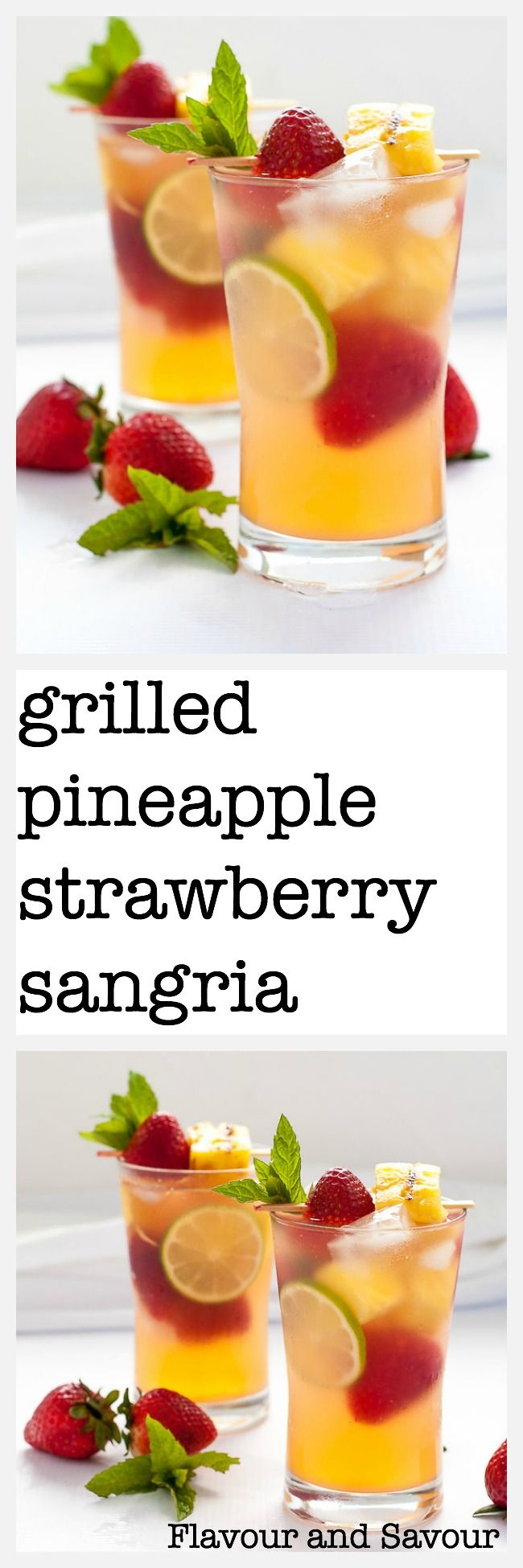 Try this white wine Grilled Pineapple Strawberry Sangria at your next outdoor party! Grilling the pineapple brings out its natural sweetness and adds flavour to this fruity, bubbly sangria. Perfect for Spring and Summer parties!