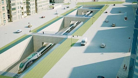 Recreación visual de la estación del Carmen soterrada, que presentó la Gerencia de Urbanismo de Murcia en el año 2009.