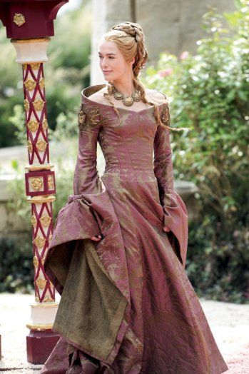 """Queen Regent Cersei Lannister's (Lena Headey) current footing amid the show's power plays is telegraphed via the increasingly elaborate beading of her costumes. """"In the beginning, she was secure, so her gowns were lightly embroidered or printed. But the more precarious her position and the more paranoid she gets, the more Lannister emblems she wears to show her power,"""" explains Clapton, who oversees creation of 120 principal costumes a season."""