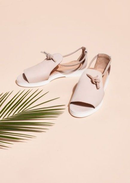 Shoes: pastel pink, pink shoes, flats, sandals, summer shoes, leather sandals, cut out shoes, spring accessory, minimalist - Wheretoget