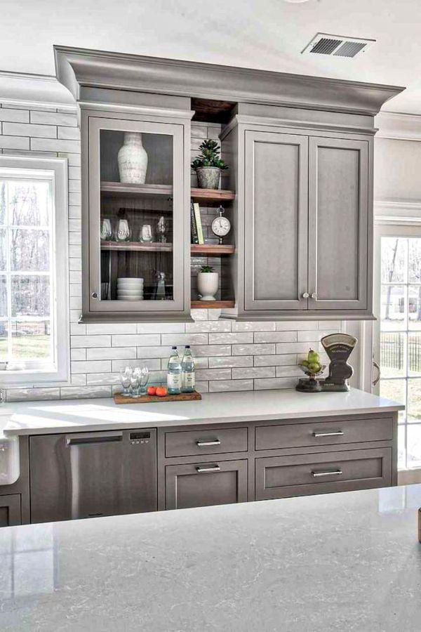 Lovely Grey Kitchen Cabinets Design Ideas For Cool Homes Page 42 Of 50 Evelyn S World My Dreams My Colors And My Life Grey Kitchen Designs Kitchen Cabinet Design Interior Design Kitchen
