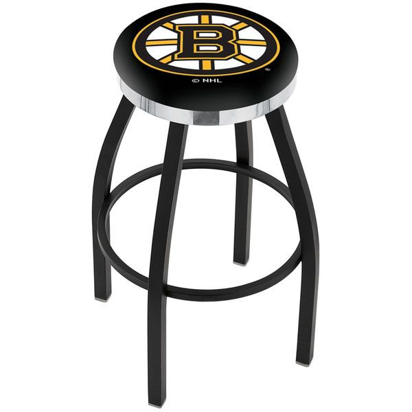 "Boston Bruins 25"" Wrinkle Swivel Bar Stool with Chrome Accent Ring - $139.00"