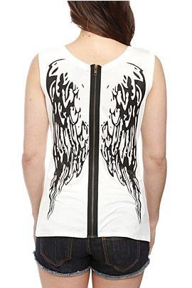 Black Glitter Wings Zipper Girls Tank Top