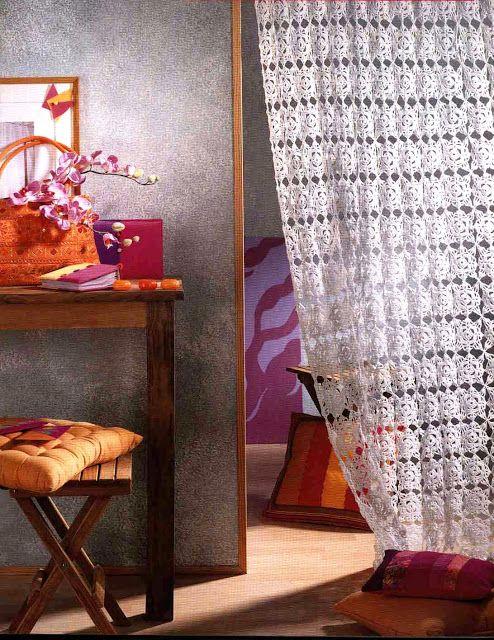 tejidos artesanales en crochet: cortina para ambientes modernos