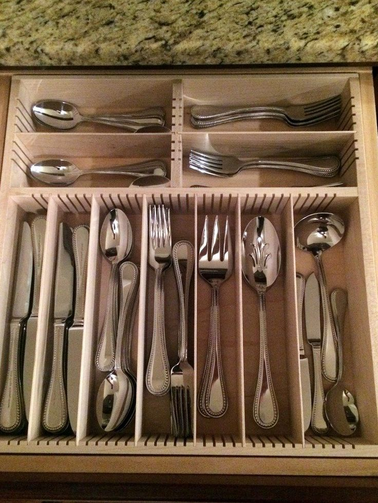 1000 images about flatware drawer organizers wood on for Silverware storage no drawers