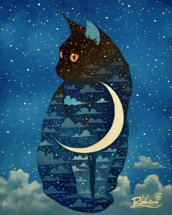 """#Arte ☆ #Ilustração * """" Cat nas Nuvens e Lua """" ☆"""