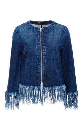 Best-yet denim-fringed jacket I've seen. A must-do DIY. Sew with Threadhead TV. ~Denim Fringed Hem Jacket by 3X1 Now Available on Moda Operandi