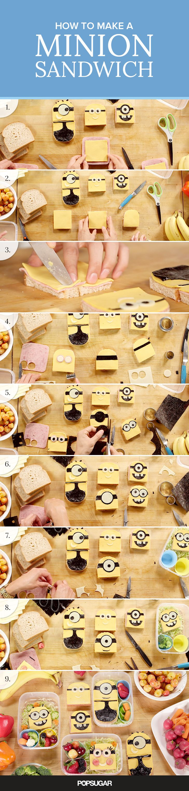 We've turned the Minions into an adorably despicable edible bento box sandwich. This lunch idea is great for kids and adults alike and is a perfect way to celebrate the Minions' big-screen debut!