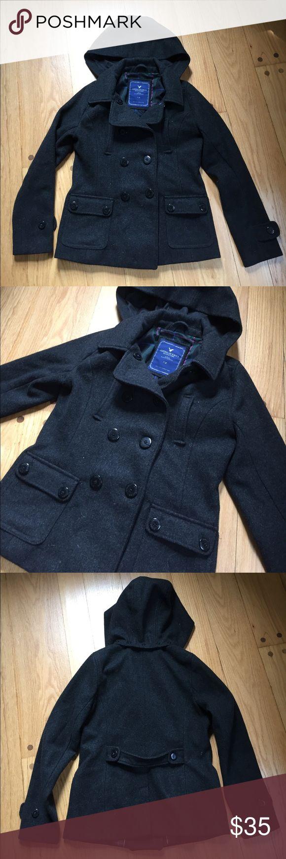 American Eagle woman's dark grey pea coat size L American Eagle dark grey pea coat size L. Good condition!! American Eagle Outfitters Jackets & Coats Pea Coats