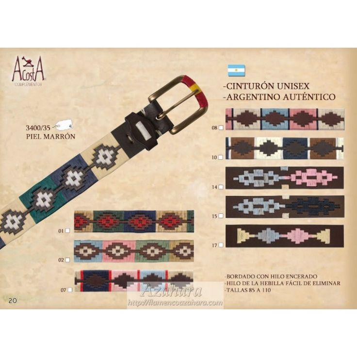 #Cinturón #argentino de #piel con bonito diseño. Unisex. #complementos #moda #flamenca