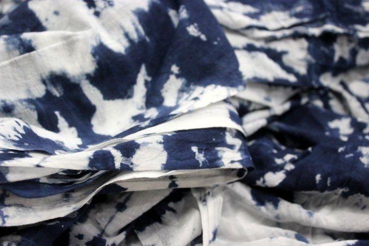1Yard Indigo Blue Tie-Dye Print Fabric Hand Printed Cotton Block Print Fabric #KhushiHandicraft