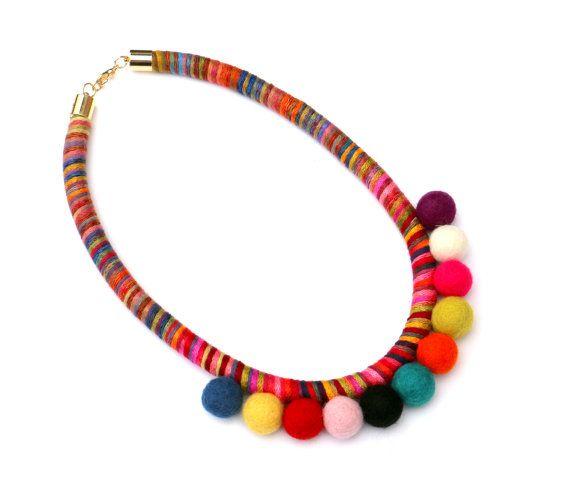 Colorful pom pom rope necklace cotton wrapped pom pom by BeataTe
