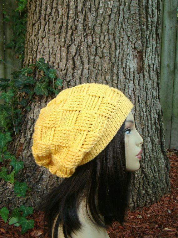 Yellow Slouch Crochet Ladies Hat Teenagers hat Winter Hat crochet womans hat basket weave