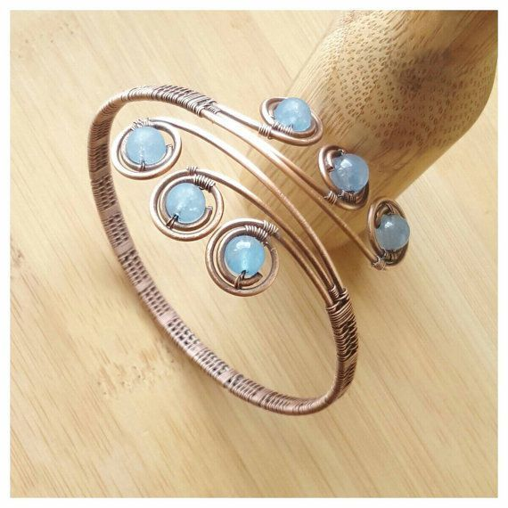 Wire statement bracelet/wire wrapped bracelet/gemstone bracelet/wire wrapped bangle/wire bracelet/angelite bracelet/blue stone bracelet