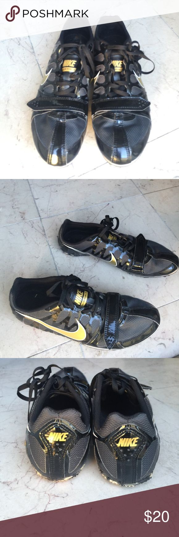 Nike Sprint shoe Nike Zoom Rival S. Black with gold logo. Adjustable strap at toe. Great condition Nike Shoes Athletic Shoes