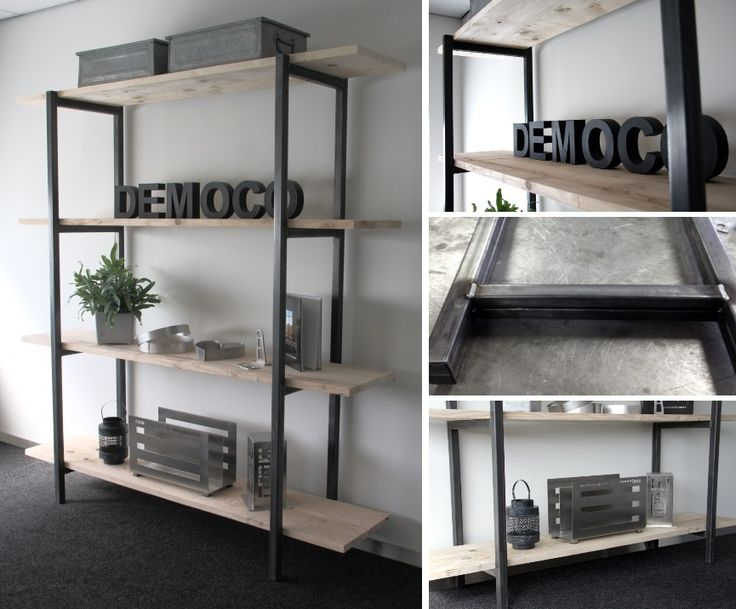 DEMOCO | wandrek van blank staal en steigerhout