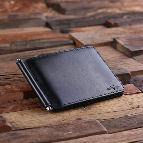 Monogrammed Engraved Leather Bifold Mens Travel Wallet Money Clip - Rion Douglas Gifts - 1