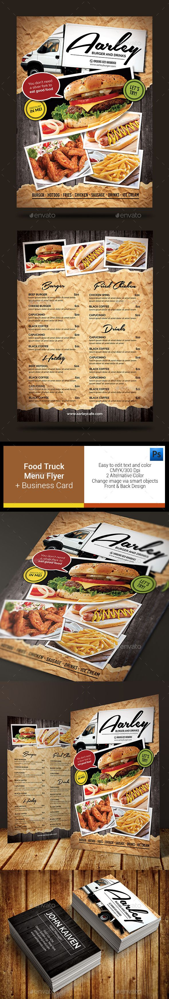 food truck menu flyer business card cards trucks and business card templates. Black Bedroom Furniture Sets. Home Design Ideas
