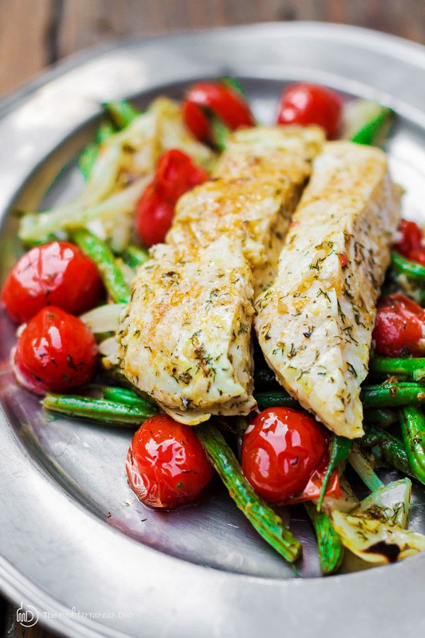 One-pan Mediterranean Baked Halibut Recipe with Vegetables