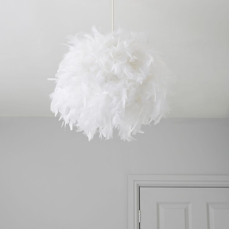 Colours Melito White Feather Ball Light Shade (D)25cm   Departments   DIY at B&Q