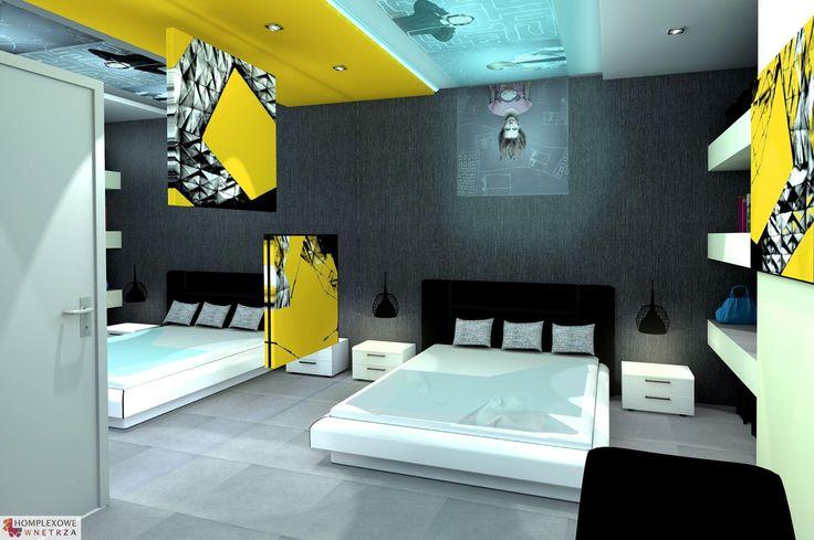 Aranżacja sypialni wystrój nowoczesny w kolorach biały, niebieski, szary, żółty - projekt wnętrza o id 6636649 w Homplex.pl, Zestaw wyposażenia za 15233 zł  [EN] Bedroom arrangement, modern style, white, blue, grey, yellow color - interior design id 6636649 in Homplex.pl, products set for $4760