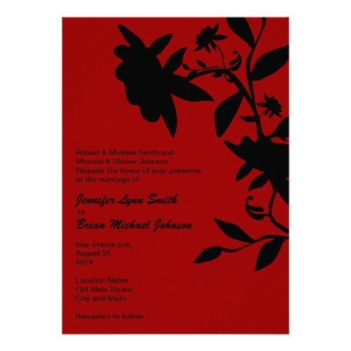 Red And Black Floral Wedding Invitation Customizable Background Can Be Changed To Any Color